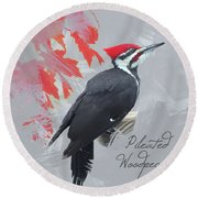 Round Beach Towel featuring the photograph Pileated Woodpecker Watercolor Photo by Heidi Hermes