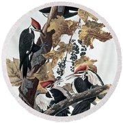 Pileated Woodpeckers Round Beach Towel by John James Audubon