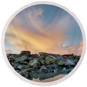 Piles Of Rocks And The Dawn Round Beach Towel by Greg Nyquist
