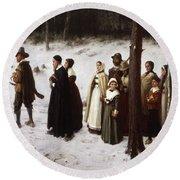 Pilgrims Going To Church, 1867 Round Beach Towel