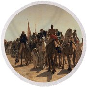 Pilgrims Going To Mecca Round Beach Towel by Leon Auguste Adolphe Belly