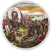 Pilgrims On The Plain Round Beach Towel