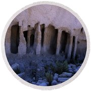 Pillars And Caves, Crowley Lake Round Beach Towel