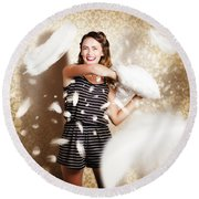 Pillow Fight Pinup Round Beach Towel