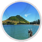 Pilot Bay Beach 2 - Mount Maunganui Tauranga New Zealand Round Beach Towel