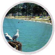 Pilot Bay Beach 4 - Mount Maunganui Tauranga New Zealand Round Beach Towel