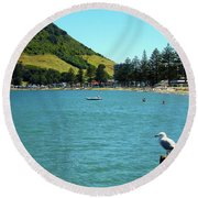 Pilot Bay Beach 5 - Mt Maunganui Tauranga New Zealand Round Beach Towel