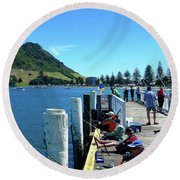 Pilot Bay Beach 8 - Mount Maunganui Tauranga New Zealand Round Beach Towel