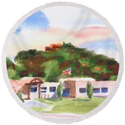 Round Beach Towel featuring the painting Pilot Knob Mountain W401  by Kip DeVore