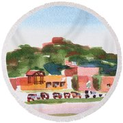 Round Beach Towel featuring the painting Pilot Knob Mountain W402 by Kip DeVore