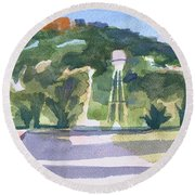 Round Beach Towel featuring the painting Pilot Knob Mountain W404 by Kip DeVore