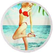 Pin-up Beach Blonde In Red Bikini Round Beach Towel