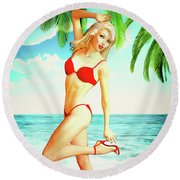 Pin-up Beach Blonde In Red Bikini Round Beach Towel