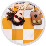 Round Beach Towel featuring the photograph Pin-up Beauty Decision Making On Old Phone by Jorgo Photography - Wall Art Gallery