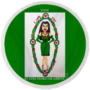 Yessy Round Beach Towel by Don Pedro De Gracia