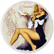 Pin Up Sexy Blond Woman Receives A Letter From Santa Round Beach Towel