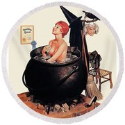Pin Up Witch Having A Bath Round Beach Towel