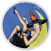 Pin Up Witch On Moon Round Beach Towel