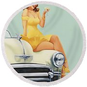 Pin Up Woman With Champagne Glass On Classic Car Round Beach Towel