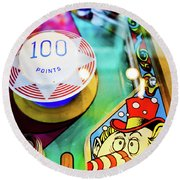 Pinball Art - Clown Round Beach Towel