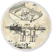 Pinball Machine Patent 1939 - Vintage Round Beach Towel