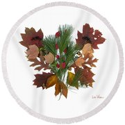 Pine And Leaf Bouquet Round Beach Towel by Lise Winne