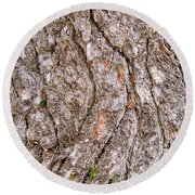 Round Beach Towel featuring the photograph Pine Bark Abstract by Christina Rollo