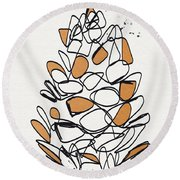 Pine Cone- Art By Linda Woods Round Beach Towel