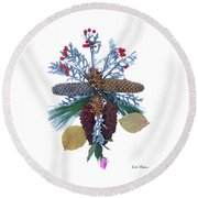 Pine Cone Bouquet Round Beach Towel by Lise Winne