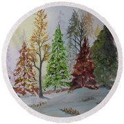 Round Beach Towel featuring the painting Pine Cove by Jack G Brauer