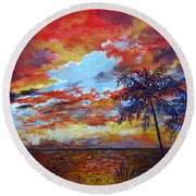 Round Beach Towel featuring the painting Pine Island Sunset by Lou Ann Bagnall