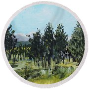 Pine Landscape No. 4 Round Beach Towel