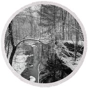 Pine Reflection On The Sheepscot Round Beach Towel