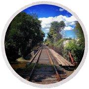Pine River Railroad Bridge Round Beach Towel