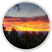 Round Beach Towel featuring the photograph Pine Sunrise by Fiskr Larsen