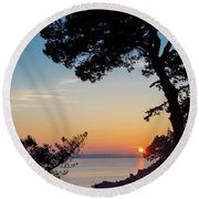 Pine Tree Round Beach Towel by Delphimages Photo Creations