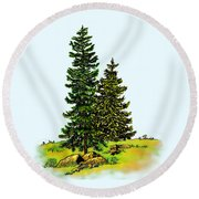 Pine Tree Nature Watercolor Ink Image 2b        Round Beach Towel