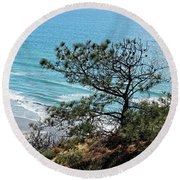 Pine Tree On Coast Round Beach Towel