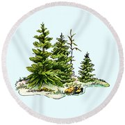Pine Tree Watercolor Ink Image I         Round Beach Towel