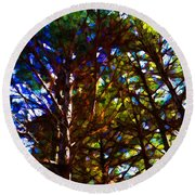 Pine Trees In Abstract 1 Round Beach Towel