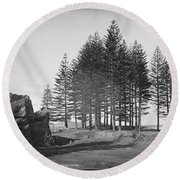 Round Beach Towel featuring the painting Pine Trees, Norfolk Island, Kerry And Co, Sydney, Australia, C. 1884-1917 by Artistic Panda