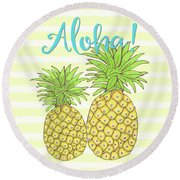 Pineapple Aloha Tropical Fruit Of Welcome Hawaii Round Beach Towel by Tina Lavoie