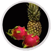 Round Beach Towel featuring the photograph Pineapple And Dragon Fruit by David French