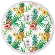 Pineapple And Tropical Flowers Round Beach Towel by Vitor Costa