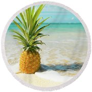 Round Beach Towel featuring the photograph Pineapple Beach by Sharon Mau