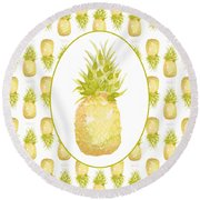 Pineapple Cameo Round Beach Towel by Cindy Garber Iverson