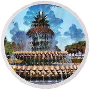 Pineapple Fountain Round Beach Towel by Lynne Jenkins