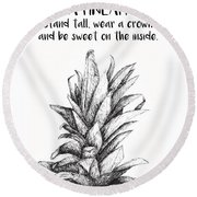 Round Beach Towel featuring the drawing Pineapple by Nancy Ingersoll