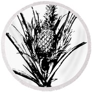 Pineapple Plant With Fruit Round Beach Towel
