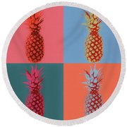 Pineapple Pop Art Round Beach Towel